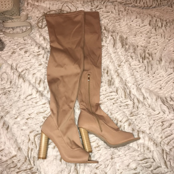 Simmi Shoes | Simmi Thigh High Peep Toe